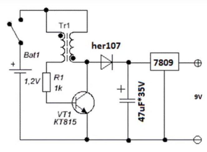 Схема для работы мультиметра от пальчиковых батареек