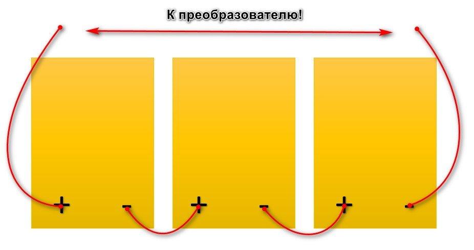 последовательное соединение солнечных батарей