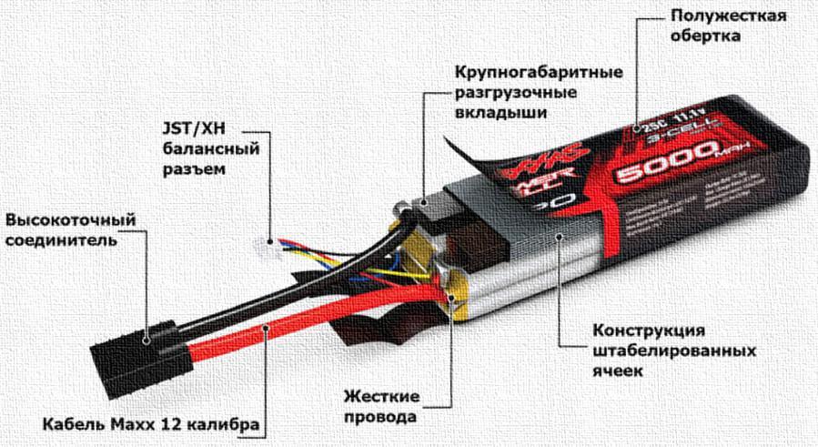 Строение аккумулятора для квадракоптера