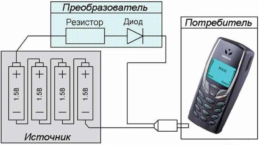 схема зарядки смартфона от батареек